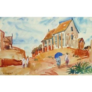 Stephane Magnard, French Watercolor Landscape - Hilltop Village For Sale