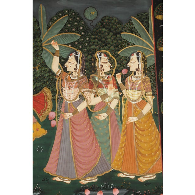 Mid 20th Century Large Pichhavai Painting of Krishna With Female Gopis Dancing For Sale - Image 5 of 10