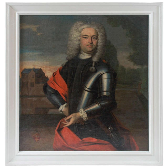 Black Portrait Painting of a Nobleman, the Netherlands, Circa 1760 For Sale - Image 8 of 8