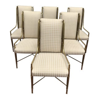 Mastercraft Faux Bamboo Brass Dining Chairs - Set of 6