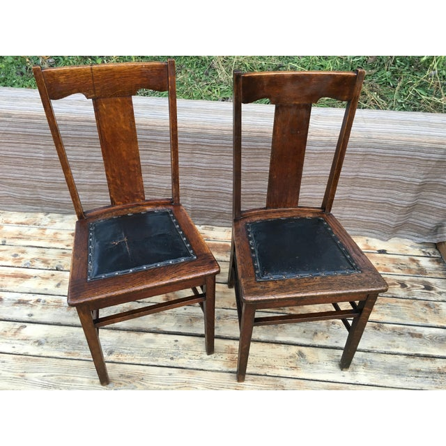 Early 20th Century Heywood and Wakefield Brothers Arts and Crafts Mission Style Side Chairs- A Pair For Sale - Image 10 of 10