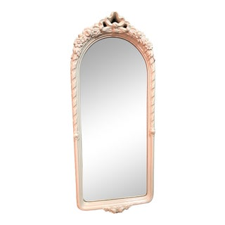 Hollywood Regency Palm Beach Style French Carved Floral and Ribbon White Wood Wall Mirror For Sale