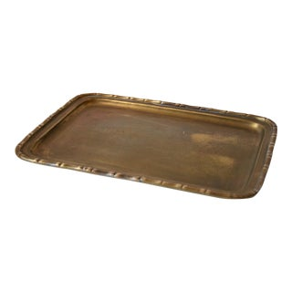 20th Century Art Deco Faux Bamboo Edge Brass Tray For Sale