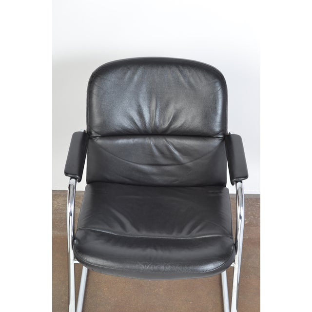 Mid-Century Leather & Chrome Armchairs - A Pair - Image 8 of 10