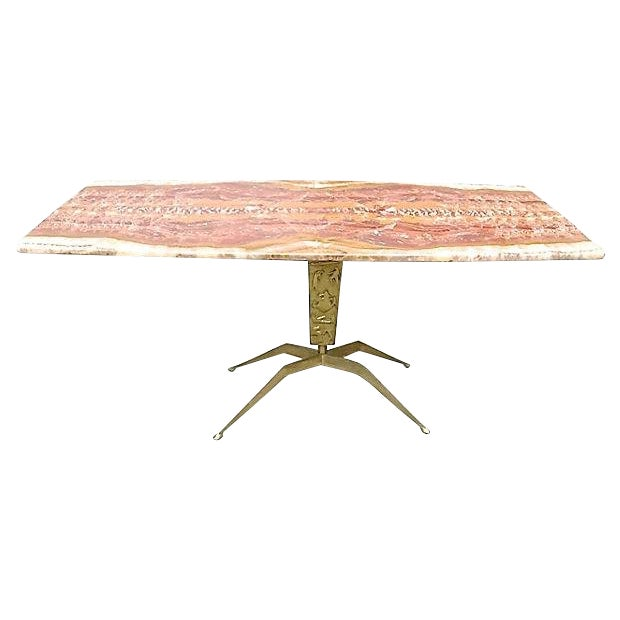 1940s Mid-century Modern Cesare Lacca Bronze & Onyx Coffee Table For Sale