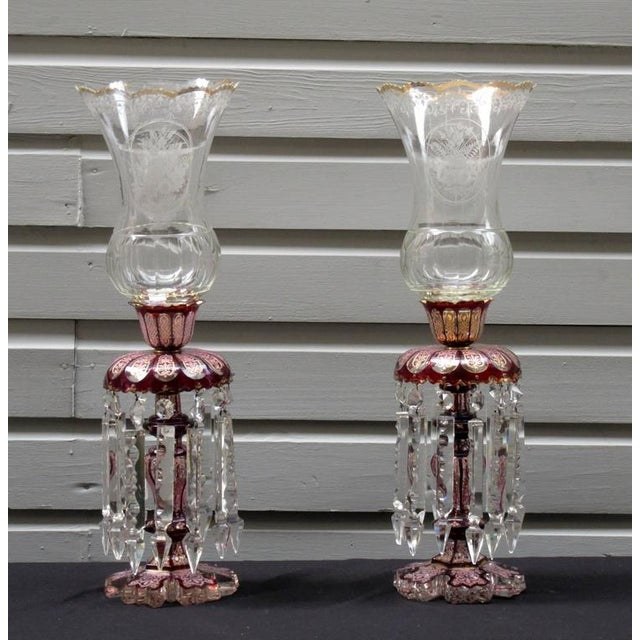 Crystal Pair of Late 19th Century Baccarat Cranberry Crystal Lusters with Hurricanes For Sale - Image 7 of 7