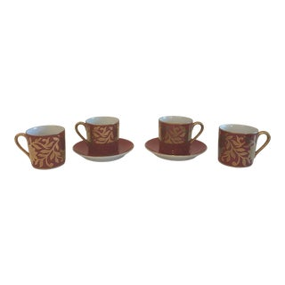 Vintage Fitz and Floyd Demitasse Cups and Saucers - Set of 6 For Sale