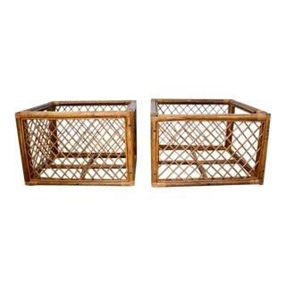 1960s Mid-Century Modern Rattan Square Side Tables - a Pair
