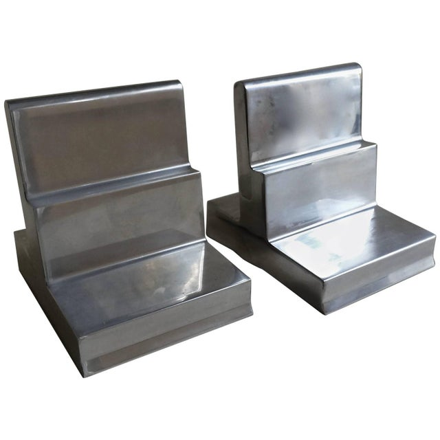 Polished Aluminium Bookends - Pair - Image 1 of 4