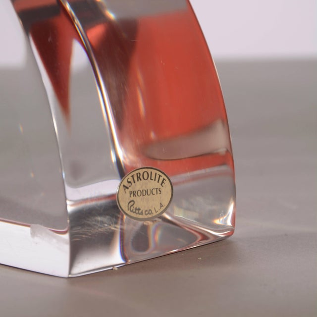 Transparent Vintage Modern Astrolite Products Lucite Arched Bookends For Sale - Image 8 of 9