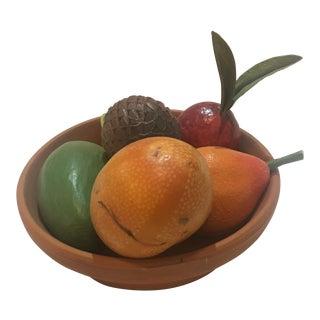 Vintage Ceramic Bowl & Papier-Mâché Fruit Decor