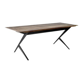 Mantis Walnut And Mahogany and Steel Desk by Atra For Sale