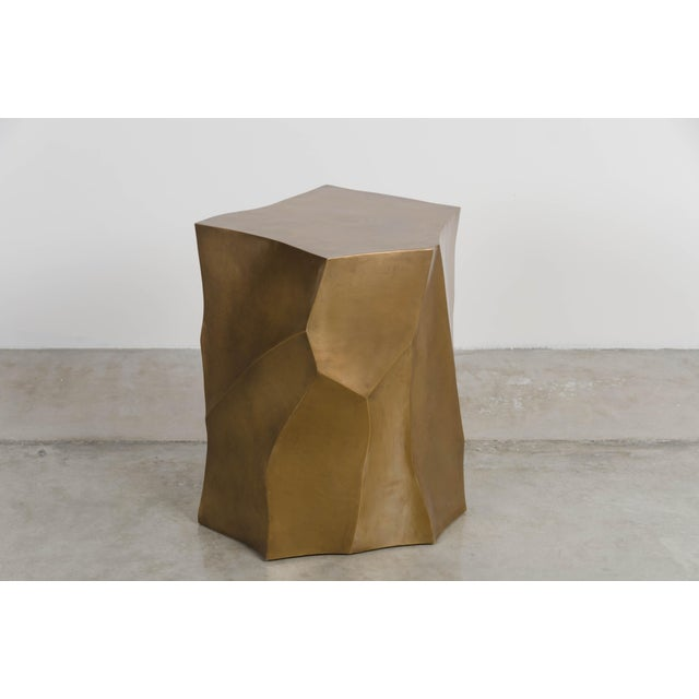 2010s Bamboo Shaven Side Table - Brass by Robert Kuo, Hand Repoussé, Limited Edition For Sale - Image 5 of 6