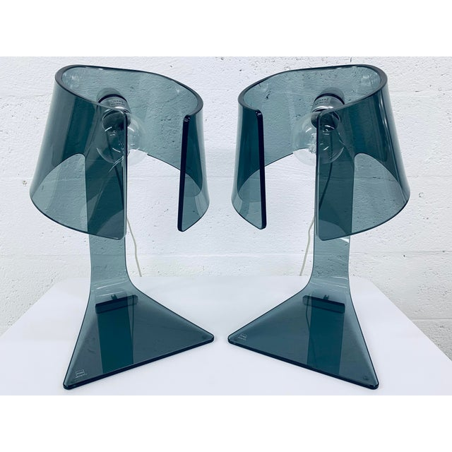 Pair of L'astra Smoked Gray Glass Table or Desk Lamps by Fiam Italia For Sale - Image 13 of 13