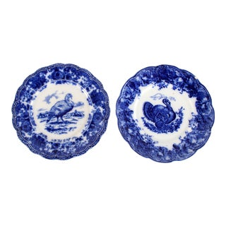 Late 19th Century Antique Flow Blue Turkey Plates Hen & Tom - a Pair For Sale