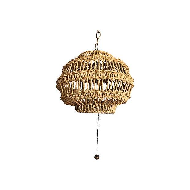 1960s Macrame Rope Pendant Light | Chairish