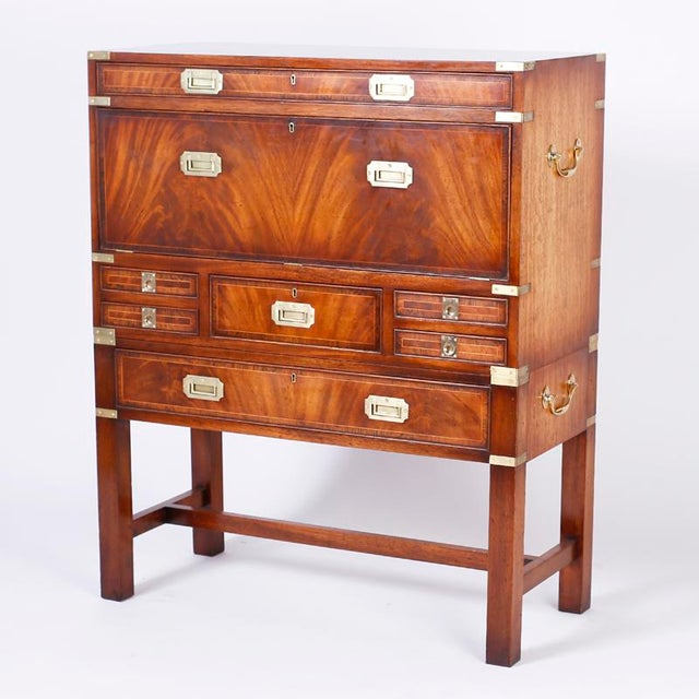 Late 19th Century English Campaign Secretary Chest on Stand For Sale - Image 5 of 10