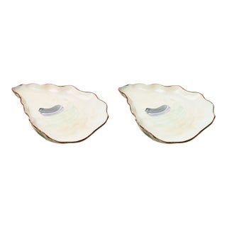 Contemporary Ceramic Oyster Plates - a Pair For Sale