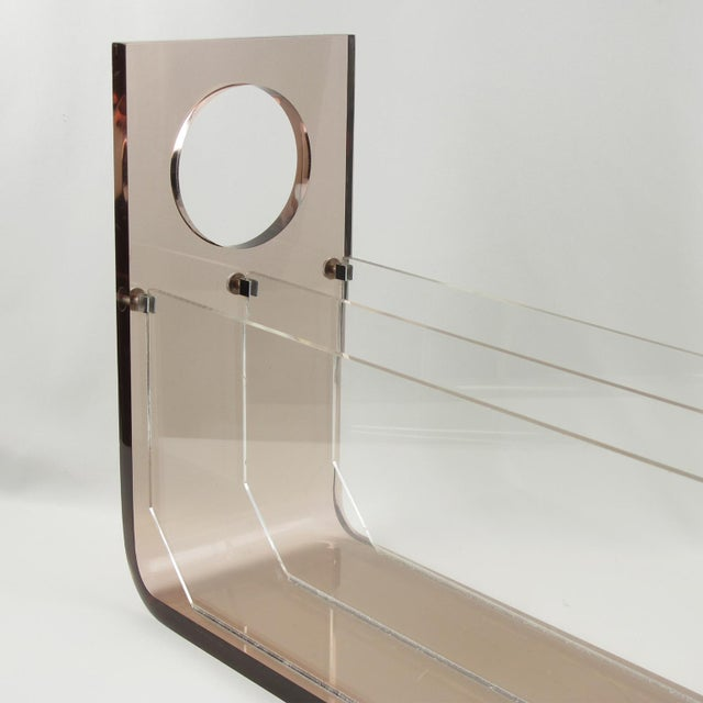 Roche Bobois France 1970s Smoked Gray Lucite Magazine Rack Stand For Sale In Atlanta - Image 6 of 9