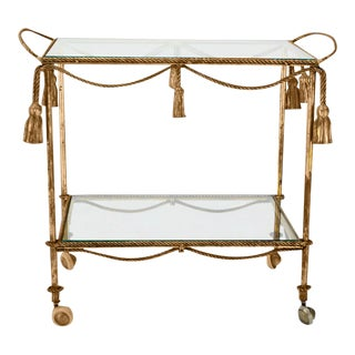 Mid Century Italian Gilt Metal Rope and Tassel Bar or Tea Cart For Sale