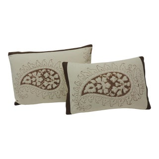 Set of Two Brown and Cream Indian Printed Cotton Paisley Decorative Pillows For Sale