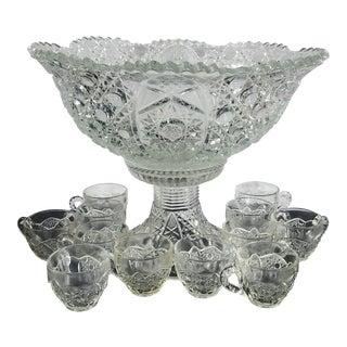 Vintage Cut Glass Punchbowl Set For Sale
