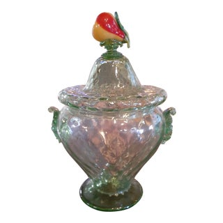Green Murano Glass Tureen With Lid and Glass Fruit For Sale