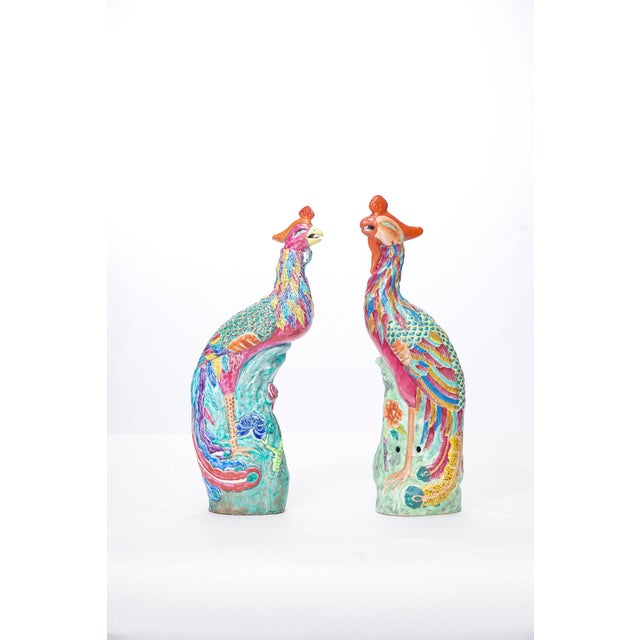 20th C. Similar Pair Chinese Porcelain Birds For Sale - Image 4 of 4