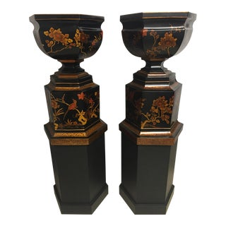 Grand Scale Vintage Maitland-Smith Chinoiserie Lacquered Wooden Urns on Plinths - a Pair