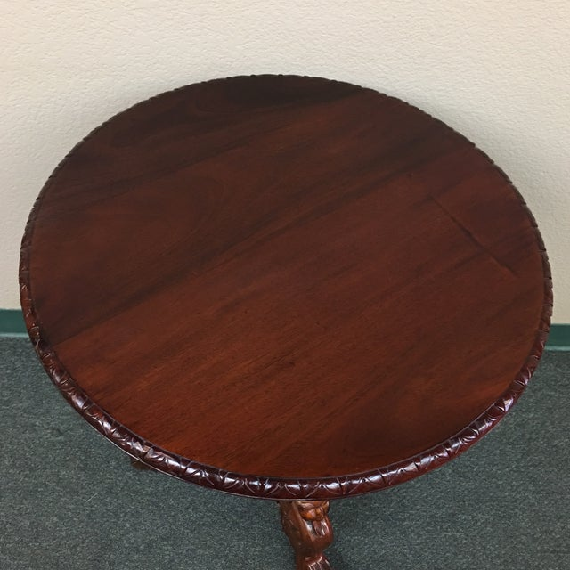 Vintage Carved Mahogany Side Table - Image 4 of 7