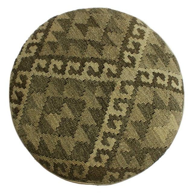 Textile Arshs Deana Lt. Gray/Drk. Gray Kilim Upholstered Handmade Ottoman For Sale - Image 7 of 8