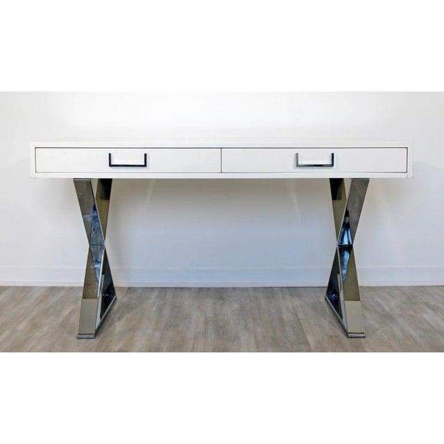 Milo Baughman 1960s Milo Baughman Mid-Century Modern Campaign White Lacquer Chrome X Base Desk For Sale - Image 4 of 12