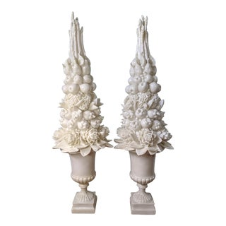 Monumental Contemporary Off-White Fruit and Vegetable Topiaries - a Pair For Sale