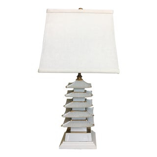 Mid Century Pagoda Lamp & Shade For Sale