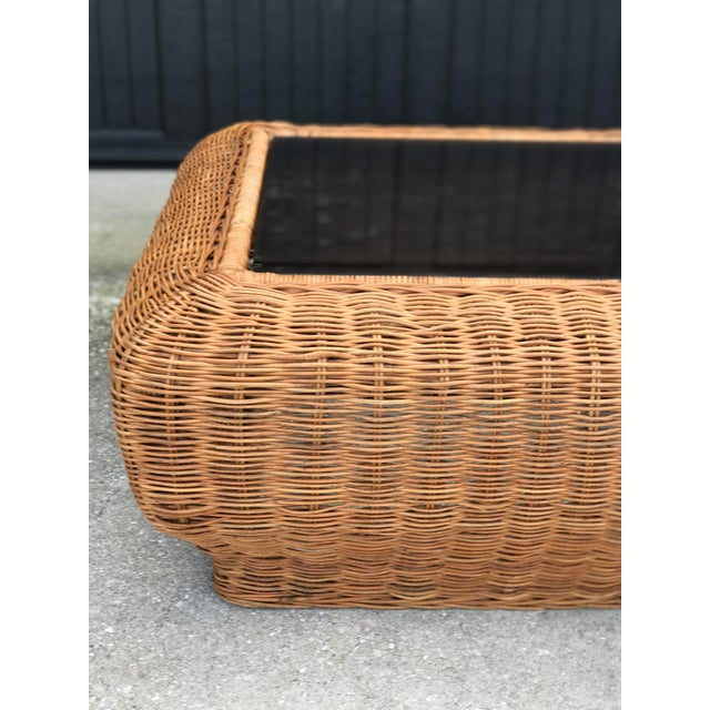 Vintage Mid-Century Modern Boho Chic Wicker Coffee Table For Sale - Image 6 of 11