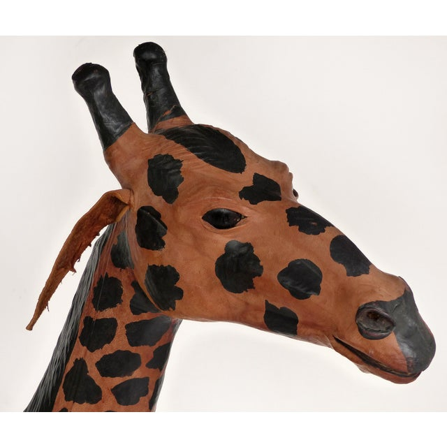 4 Foot Tall Leather Giraffe Sculpture For Sale - Image 4 of 11