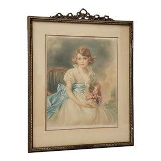 """Jessie Furber (British, 1800-1966)""""Princess Elizabeth"""" Color Mezzotint C.1933 For Sale"""