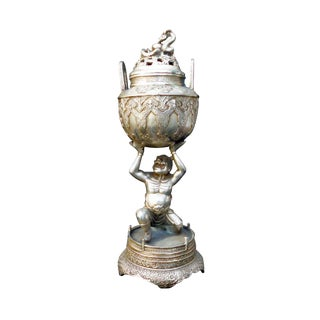 Tibetan Silver Metal Lohan Incense Burner For Sale