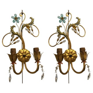 Pair of Neoclassical Handcrafted Italian Gilt Metal and Crystal Sconces by Alba For Sale