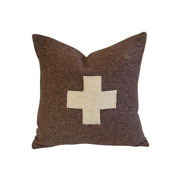 Swiss Wool Appliqué Cross Pillows - Pair - Image 2 of 6