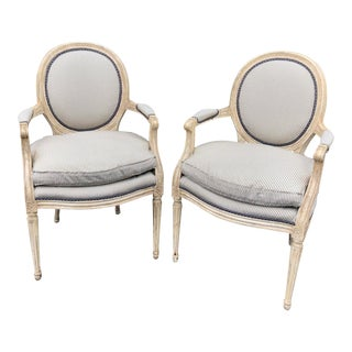 Pair of Louis XV Style Balloon Back Arm Chairs W Silk Down Cushions For Sale