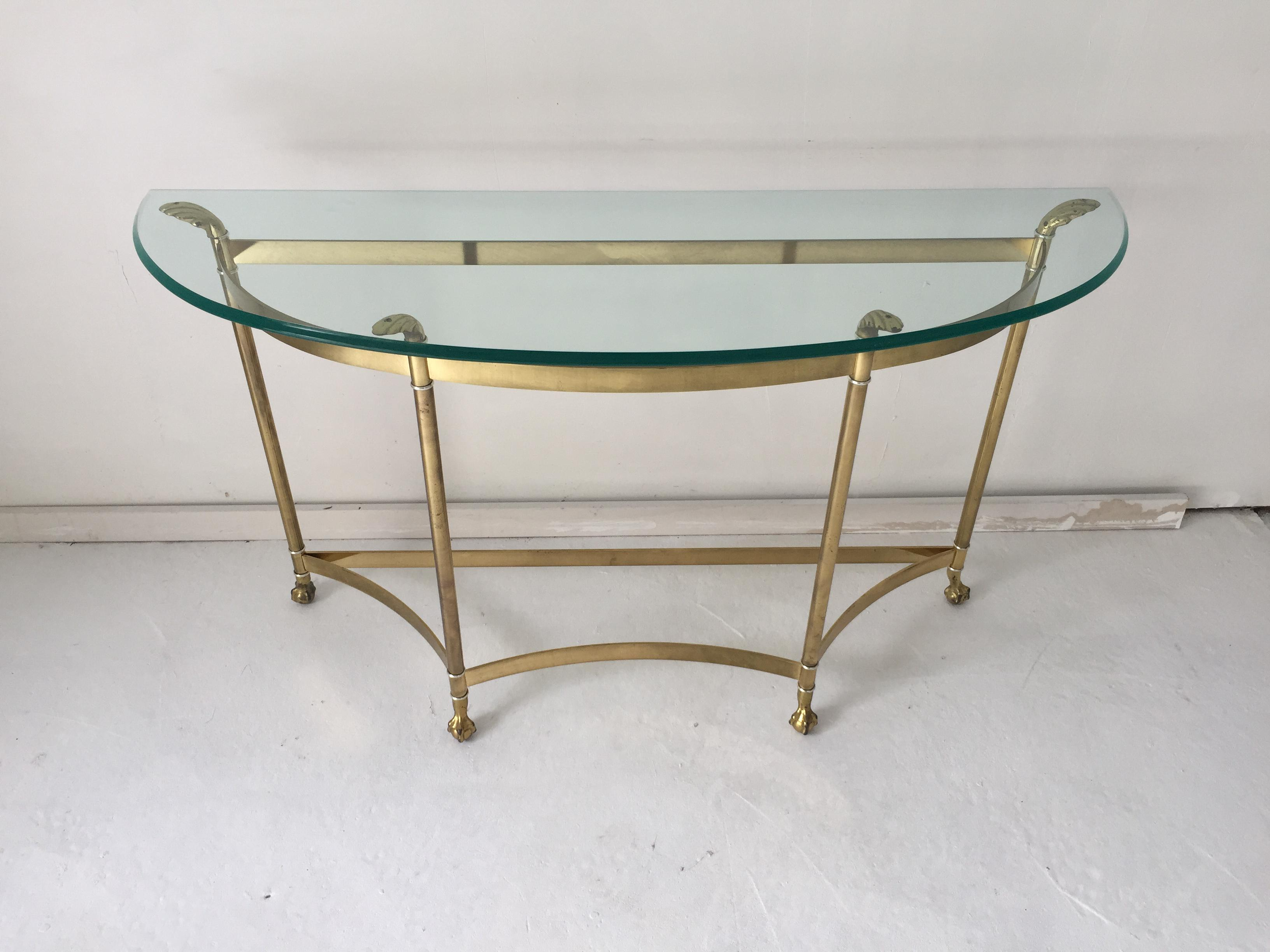 Vintage Hollywood Regency Brass Glass Demilune Hall Or Sofa Table