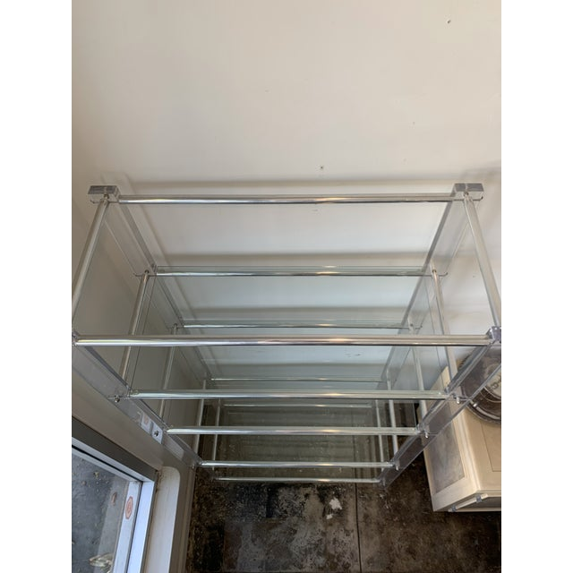 1970s Lucite and Chrome Tube Display & Shelving Unit For Sale - Image 5 of 10