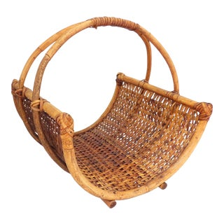 Vintage French Provincial Bamboo Gathering Basket For Sale