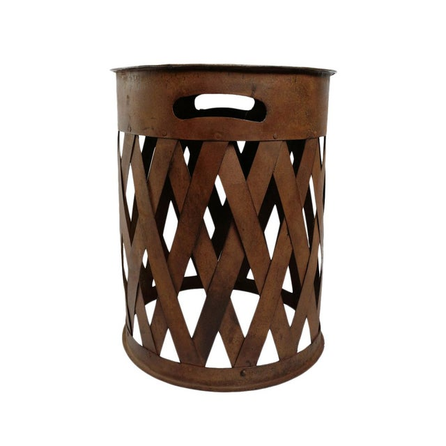 Mid 20th Century Vintage Iron Weave Stool For Sale - Image 5 of 5