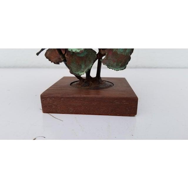 Brutalist 1970s Vintage Copper Plant Table Sculpture For Sale - Image 3 of 9