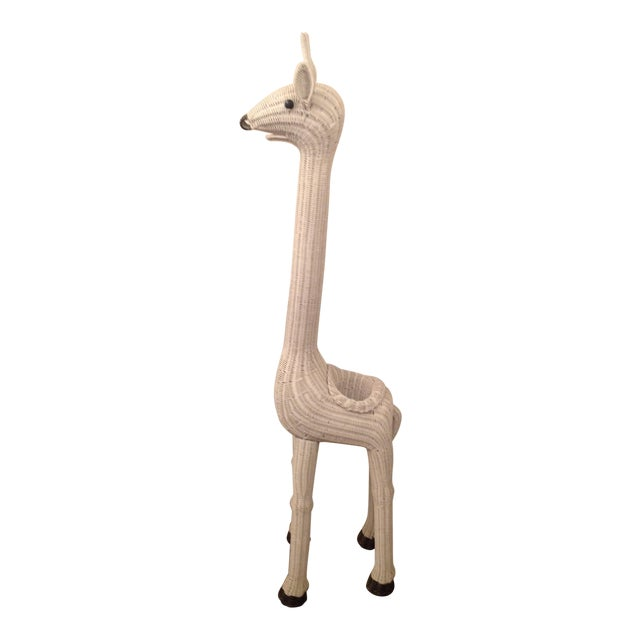 Vintage Wicker Giraffe Planter Animal Statue - Image 1 of 8