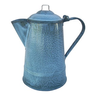 Vintage Gray Graniteware Coffee Pot For Sale