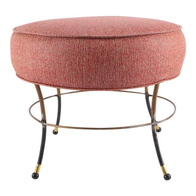 Mid-Century Modern Pink Upholstered Footrest For Sale