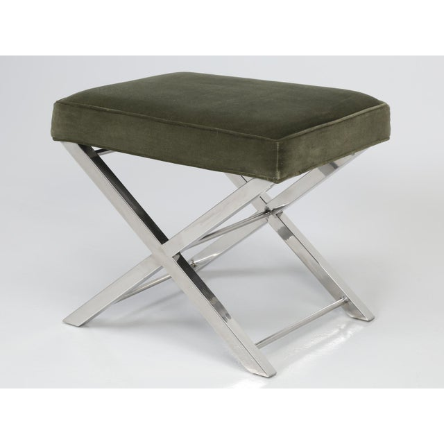 Modern Chrome Stool With Classic X-Style Frame For Sale - Image 11 of 11